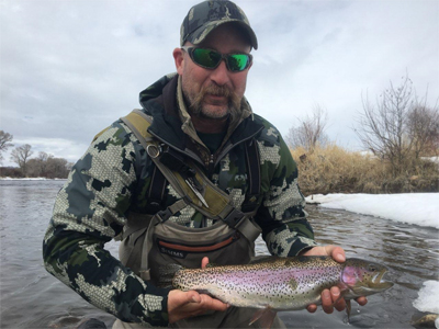 Guide Drew Gross Rainbow Caught on the Colorado River on a Copper King Nymph