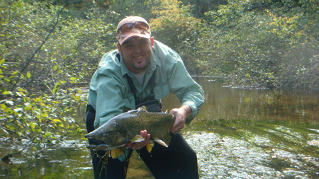 Andrew Strombeck from Kalamazoo, Michigan caught this big boy on a Black Gummy Stonefly.