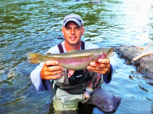 Corey Harris fished the Wet Baetis Soft Hackle, and caught this colorful rainbow while fishing in the evening.