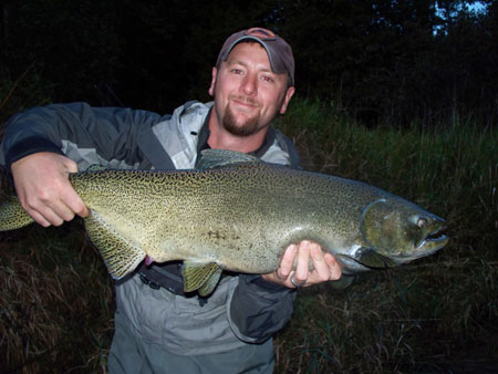 Justin Strombeck from Kalamazoo, Michigan caught this beast on a #6 Golden Gummy Stonefly.