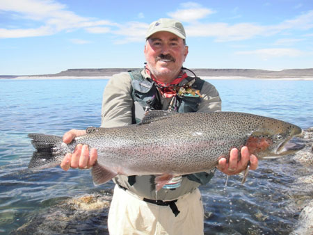 Ken August from Los Angeles, California caught & released this 13.5 pound, 32 inch trophy using a #12 Dave's Black Beetle.